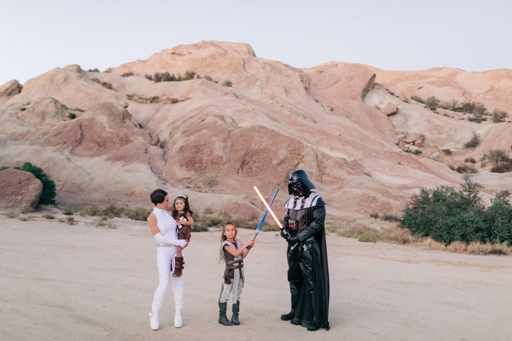 The Best Family Halloween Costumes -Star Wars-Vazquez Rocks-Family Costume-The Mother Overload-Darth Vader-Princess Leia-Chewie-Rey