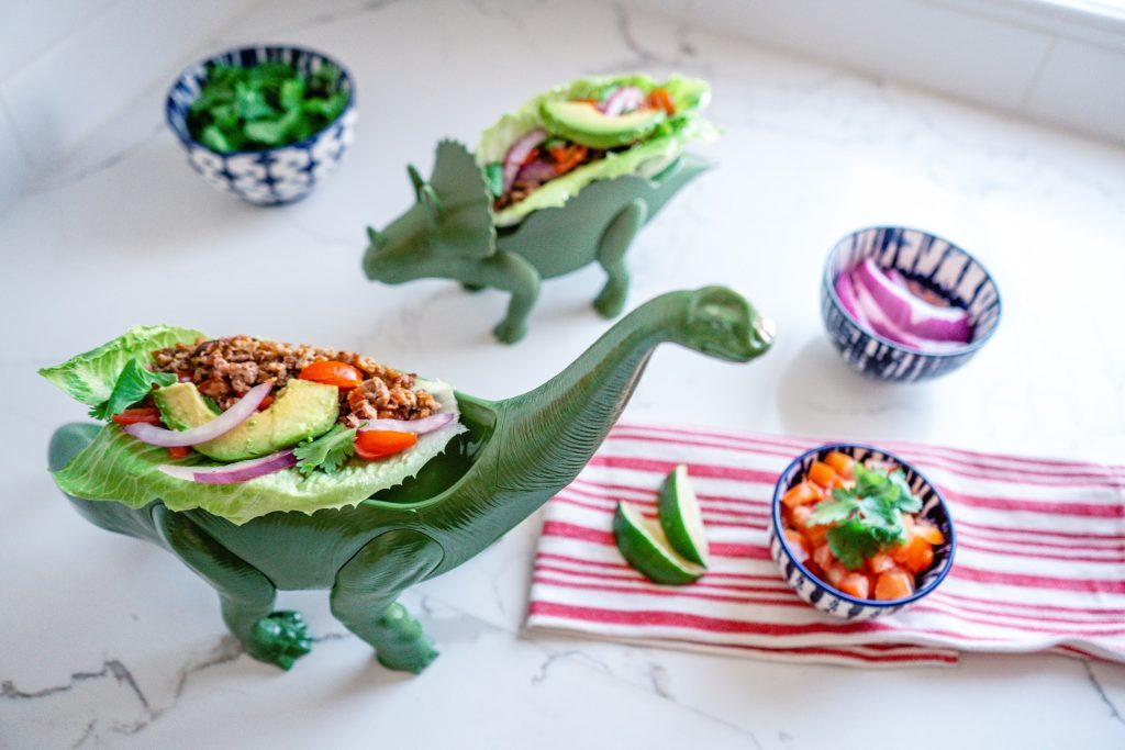 kid friendly-tacos-dinosaur birthday party-food-fun-lettuce wraps-vegan-plant based-Beyond Meat