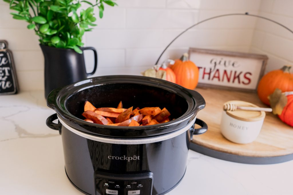 Crockpot-Honey Rosemary Glazed Sweet Potatoes - Thanksgiving Side Dish