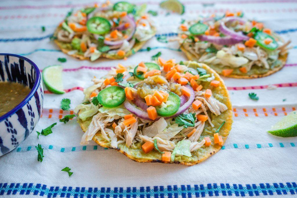 easy salsa verde chicken tostadas recipe pressure cooker crockpot meal crockpot recipe Mexican food