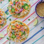 Easy Salsa Verde Chicken Tostadas