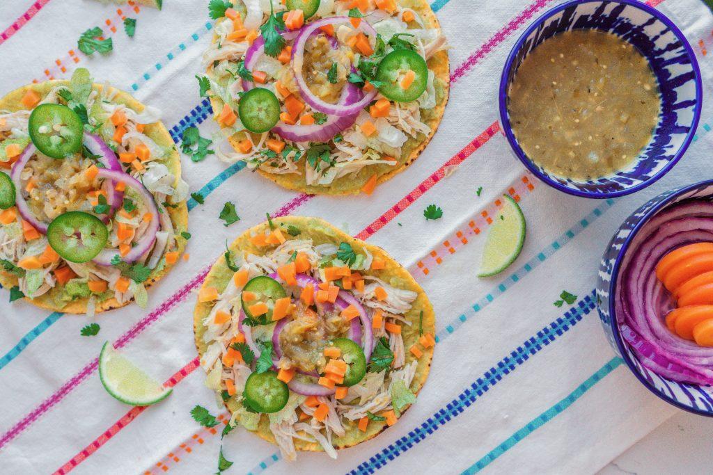 easy salsa verde chicken tostadas pressure cooker crockpot meal recipe- Mexican food