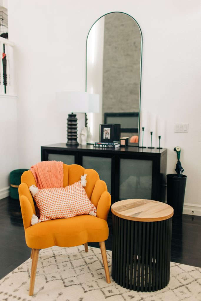 8 Ways to Update Your Living Room-Easy Modern Living Room DIY Renovation-Fixer Upper-High-Ceiling-Design-Ideas-mid century-black and white-homegoods