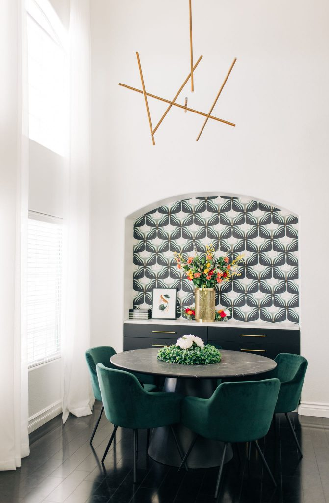 Easy Modern Dining Room DIY Renovation-Fixer Upper-High-Ceiling-Design-Ideas-mid century-black and white