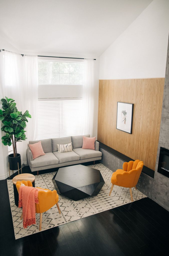 8 Ways to Update Your Living Room-Easy Modern Living Room DIY Renovation-Fixer Upper-High-Ceiling-Design-Ideas-mid century-black and white