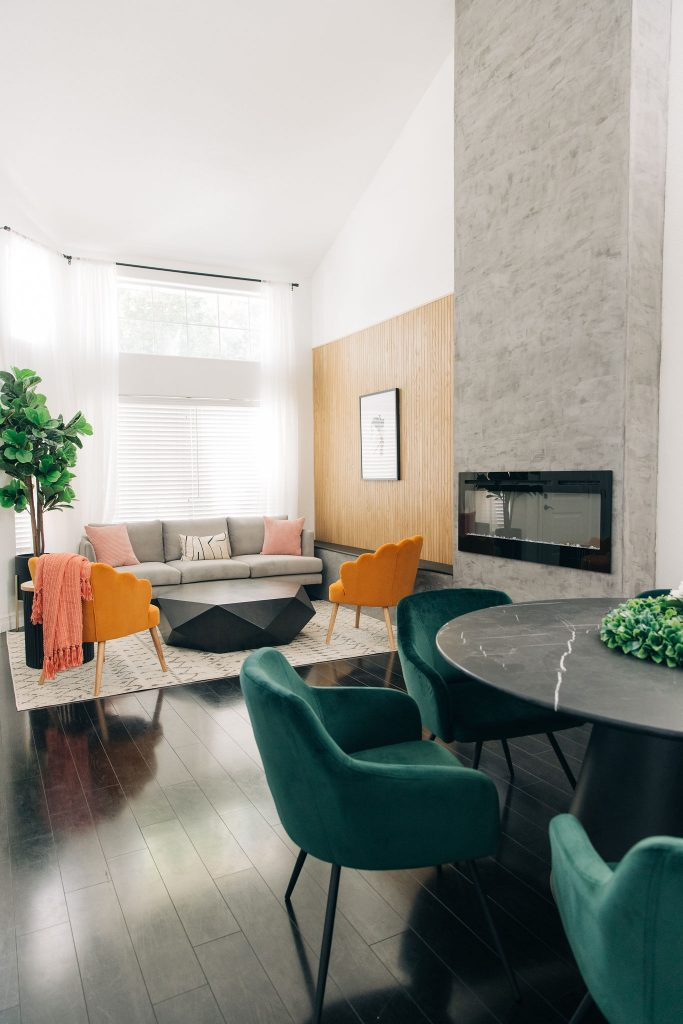 8 Ways to Update Your Living Room-Easy Modern Living Room DIY Renovation-Fixer Upper-High-DIY Fireplace-Ceiling-Design-Ideas-mid century-black and white